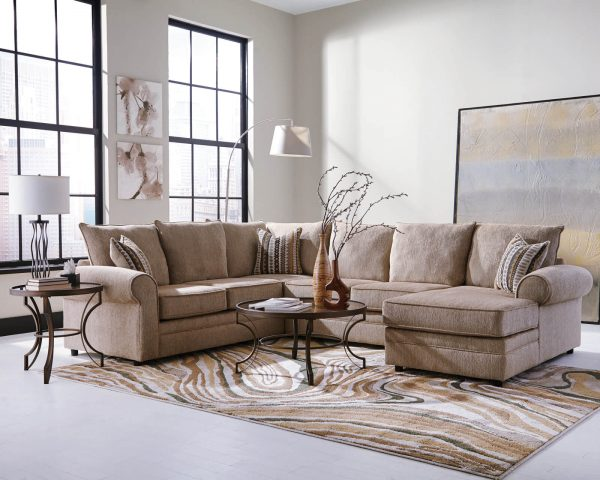 Traditional Deep Seating Sectional Sofa with Wide Rolled Arms and Herringbone Chenille Fabric