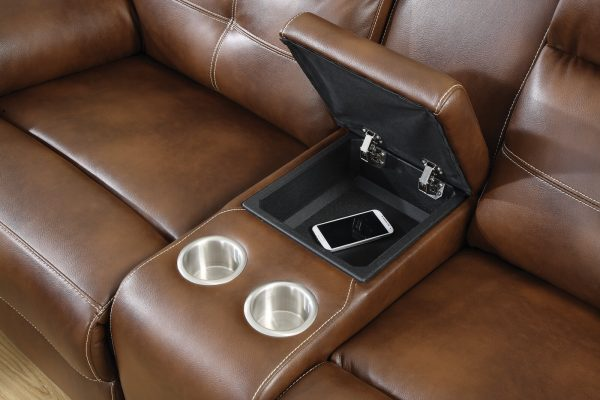 Brown Faux Leather Motion Sofa