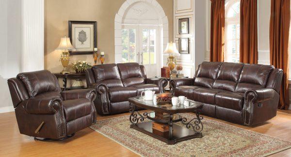 Burgandy Brown Motion Sofa